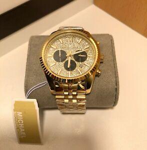 Brand New Michael Kors MK8494 Lexington Gold Glitz Stainless Steel Unisex Watch