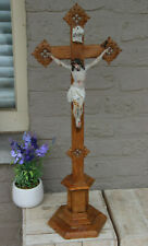 LARGE antique neo gothic wood carved crucifix chalkware christ religious