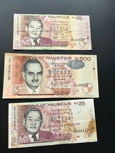 3 BILLETS BANQUE ILE MAURICE - 3 MAURITIUS BANKNOTES
