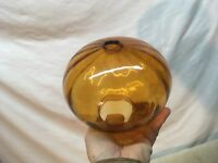 Vintage Mid Century Amber Glass Steam Punk Light Shade Fixture