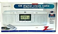 Zenith Stereo CD Digital Clock Radio AM/FM/TV/Weather Bands NOS NEW Tested
