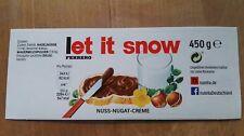 Ferrero Nutella Sticker Aufkleber Etikett für 450g Glas, let it snow