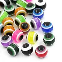 100pcs/bag Resin Beads Round Evil Eye Stripe 10mm Spacer Beads Jewelry Making