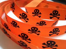 3M SKULL & CROSS BONES PIRATE RIBBON HALLOWEEN FANCY DRESS COSTUMES PUNK ORANGE