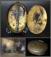 KK09 Japanese Antique Brass Snuff case kakure kirishitan relics #christian