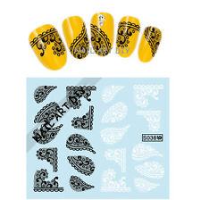 20 Adesivi per unghie con Pizzo Nero e Bianco-Stickers-nail art water transfer!