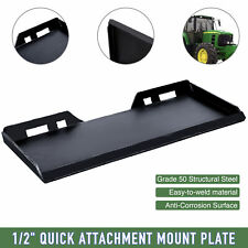 """1/2"""" Thick Skid Steer Quick Tach Mount Plate Adapter Attachment Heavy-Duty"""