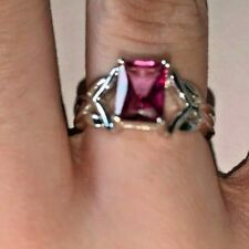 1.91CT MYSTIC PINK TOPAZ STERLING SILVER RING SIZE 7