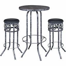 Jt International Black/Silver Star 3 Piece Pub Table and Stool Set
