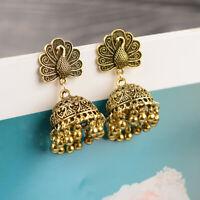Vintage Gold Tassel Ethnic Gypsy Earrings Jhumka Tribal Wedding Indian Jewelry