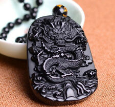 China Jewelry Lucky Amulet Black Dragon Pendant Necklace Obsidian Carving