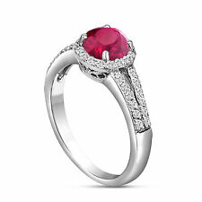 PLATINUM RUBY & DIAMOND ENGAGEMENT RING 1.36 CARAT HALO SPLIT SHANK PAVE SET