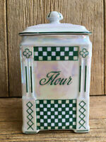 Czechoslovakia Ceramic Flour Canister Jar Green Checkered Checks Vintage Kitchen