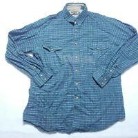 Vintage Roper Pearl Snap Button Shirt  Western Plaid Green Cotton Mens XL
