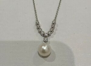Cultured Pearl and Diamond 18ct White Gold Necklace