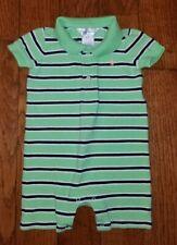 Ralph Lauren Baby Boys Bold Striped Polo Shortall Cycle Green/Navy  Sz 6M
