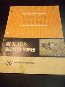 Massey Ferguson 1965 MF31 Rear Mounted MOWER OPERATORS MANUAL Original Authentic