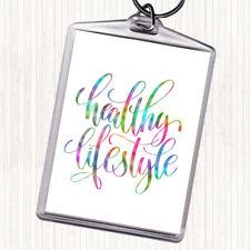 Healthy Lifestyle Rainbow Quote Bag Tag Keychain Keyring