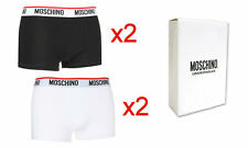 MOSCHINO TWIN PACK Mens Boxer Shorts White/Black All sizes