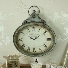 Large grey rustic style metal wall clock shabby vintage chic home garden gift