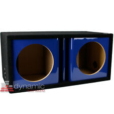 "ATREND ZV12D Custom 12"" Dual Vented Ported Blue Kandy Paint Sub Box Enclosure"
