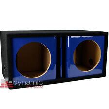 "ATREND ZV12D Custom 12"" Dual Vented Ported Blue Kandy Paint Sub Box Enclosure"