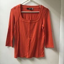 JAEGER / SAKS FIFTH AVENUE 3/4 Sleeve Orange Square Neck Top (SMALL) (Great)
