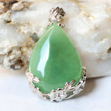Elegant Jewelry Gift Genuine Green Agate Gemstone Silver Drop Necklace Pendants