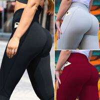 Women Pocket Yoga Pants Activewear Elastic Workout GYM Leggings Butt Lift S-XL