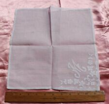 "New listing French Handmade Fine Linen & Appliqué c1910 Initialed Handkerchief~12"" Square"