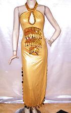 Egyptian Belly Dance Baladi Saidi Galabeya Dress Costume Halter Neck Beige