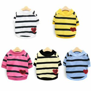 Pet Dog Warm Jumper Sweater Striped Clothes Puppy Cat Vest Costume Coat Apparel