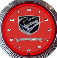 Dodge Viper Automobile Neon Clock Red 15 Inch Office Game Room Garage