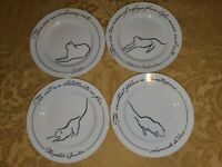 MINOU LIZ ROSS The Monkey And The Peddler 4 SALAD PLATES CATS 8 1/4""