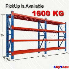 4M WAREHOUSE METAL SHELVING WORKBENCH SHOP SHED RACKING SYSTEM 1600kg 3-4020BO