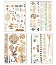GOLD Tattoo Flash Tattoos ägyptisch Orient Ornamente Henna 80 Teile Phönix Set A