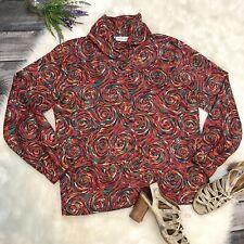 Pierre Cardin Vintage Womens Colorful Swirl Blouse Size 10 Button Front