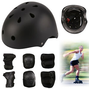 Skateboard protection set bike scrooter helmet knee elbow wrist pads kids new