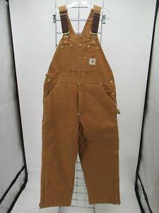 P3244 VTG Carhartt Men's Carpenter Bib Quilt Lined Work Overalls Size 36/30