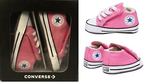CONVERSE ALL STAR INFANT BABY GIRL CRIB TRAINERS SOFT SOLE SHOES PINK C2 C3 C4