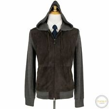 Zegna Couture Grey Brown Cashmere Linen Suede Accent Hooded Sweater Jacket Large
