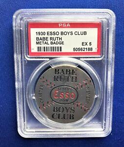 1930 BABE RUTH ESSO BOYS CLUB BASEBALL PIN/BADGE **PSA 5 EX!** NEW YORK YANKEES