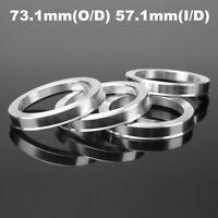 4x Universel Bagues de centrage 73.1mm O/D 57.1mm I/D Aluminium Pneu Jante Roue