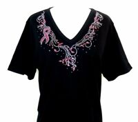 PLUS 3X Hand Embellished Iridescent Rhinestone Pink Breast Cancer Awareness Top