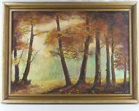 Öl Gemälde Herbst Wald Bäume Rahmen 1987 Signiert Krzysztof Jablonski 78 x 104