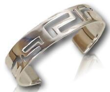 Bangle Cuff Bracelet with Greek L Cut Design High Polished Silver Finish