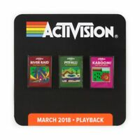Classic 80's Activision Exclusive Game Console Pin Set Kaboom Pitfall River Raid