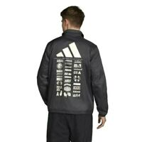 New Adidas Mens The Pack Back Graphic Print Coaches Snap Jacket Coat L - XL