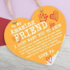 Best Friend Gift Metal Heart Thank you Hanging Sign Friendship Gifts Plaque