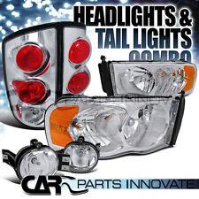 02-05 Dodge Ram Chrome Crystal Headlights+Clear Fog DRL+Tail Lamps